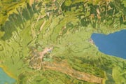 Landslide of Goldau on the relief of mount Rigi